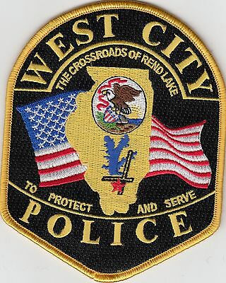 """West City Illinois Il Police Shoulder Patch """"the Crossroads Of Rend Lake"""""""