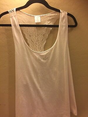 New pale pink Bride Racerback poly blend  Lace Ribbed Tank Cami Top XXL
