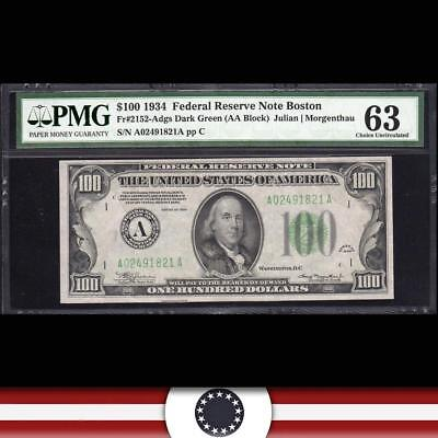 1934 $100 BOSTON Federal Reserve Note FRN PMG 63 Fr 2152-a  A02491821A