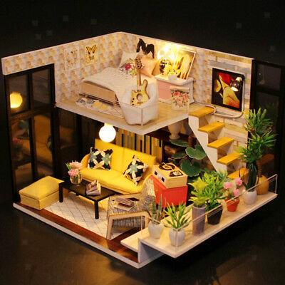 DIY Miniature Kits With Furniture LED Light - Dollhouse Loft Apartment Model
