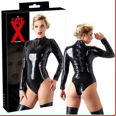 Body in lattice nero con maniche lunghe zip sul cavallo Latex Fetish Sexy Donna