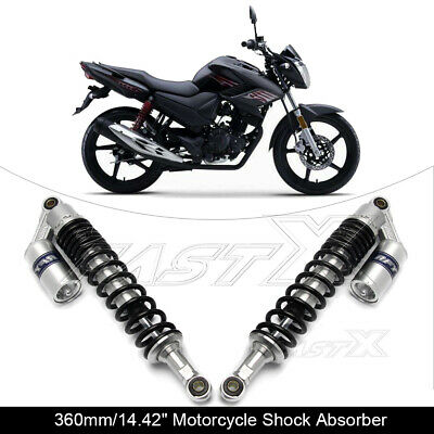 "360mm 14.2"" Motorcycle Rear Air Shock Absorbers For BMW Honda Yamaha Silver 1#"