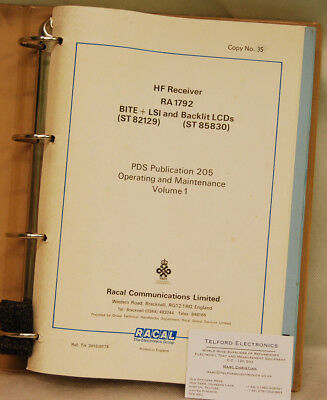 Racal HF Receiver RA1792 PDS Publication 205 Operating & Maintenance Volume 1