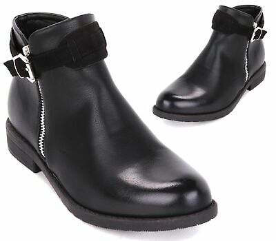 9a76e8502 Ladies Faux Leather Flat Low Block Heel Buckle Chelsea Ankle Boots Shoes  Size