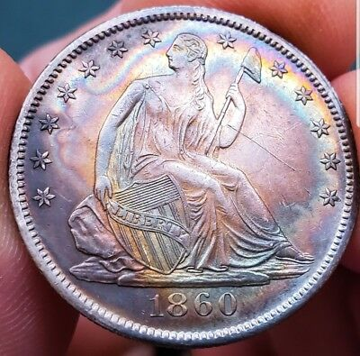 1860 O UNC Seated Liberty Half Silver Dollar 50 Cent  TONING * Tought  Date. 451