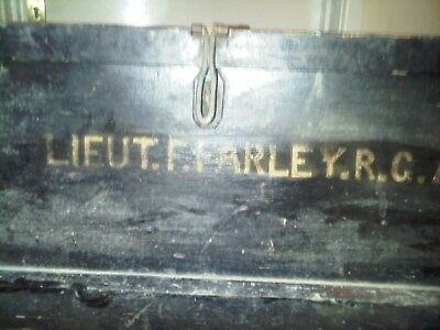 WW1 Antique Campaign Chest Millitary Travel Trunk Blanket Box Coffee Table