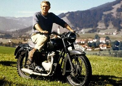 """The Great Escape, Steve McQueen - Motorcycle 1963. Canvas Framed Print 30""""x20"""""""