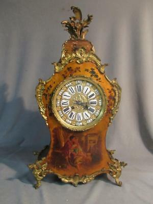 Antique French Louis Xv Painted Wood & Bronze Mantle Clock - Courting Couple