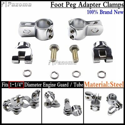 """Pair 1-1/4"""" Engine Guard / Tube Footpeg Adapter Mount Clamps For Harley Davidson"""