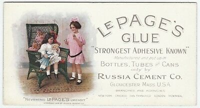 RARE Advertising Blotter Card- LePage Glue 1908 Russia Cement Co Gloucester MA