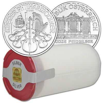 2019 Austria Silver Philharmonic 1 oz 1.5 Euro - 1 Roll 20 BU Coins in Mint Tube