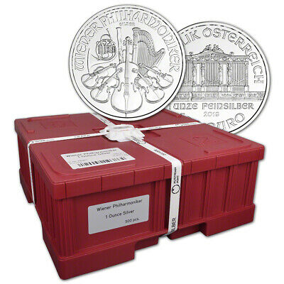 2019 Austria Silver Philharmonic 1 oz 1.5 Euro Mint Sealed 500 Coin Monster Box
