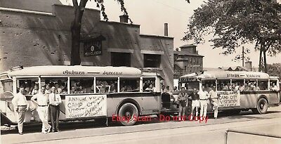 RARE - Photo c 1935 Bus Trip - Annual YMCA Camp City Visit  Auburn - Syracuse NY