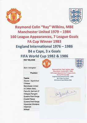 Ray Wilkins Manchester United 1979-1984 Rare Original Autograph Cutting
