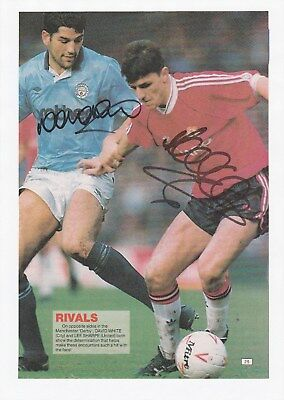 Lee Sharpe Manchester Utd & David White Man City Orig Autograph Annual Cutting