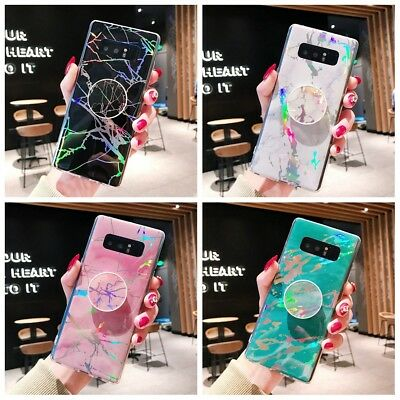 Laser Marble Case Cover With  Up Holder for Samsung Galaxy S8 9 Plus Note 8 9