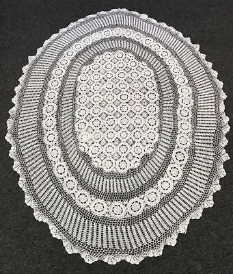 "72x108"" White Oval 100% Cotton Handmade Crochet Lace Tablecloth Vintage Style"