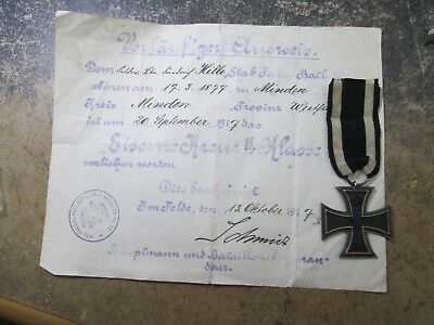 Vintage WWI GERMAN 2ND CLASS IRON CROSS MEDAL W MH MARKED ON RING DOCUMENT #Z282