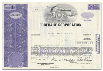 Fruehauf Corporation Stock Certificate (Semi-Trailers, Missiles)