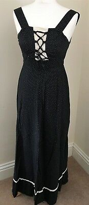 Vintage Black spotted dress approx 1970's 1980's ladies size 6