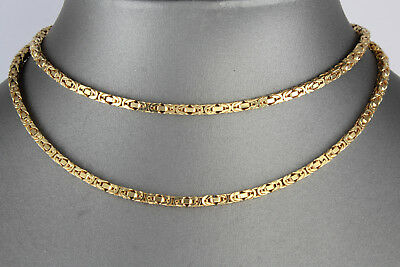 Long Heavy Vintage 9Ct Gold Box Byzantine Link Chain Necklace, 40.1grams, 28''