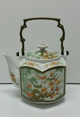 Japanese Hand Painted Hexagon Porcelain Teapot W/ Brass Handle Bird Flowers #PR