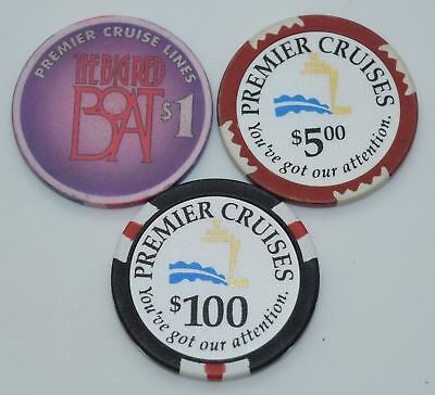 Set of 3 Premier Cruise $1-$5-$100 Casino Chips ChipCo./Plain Mold