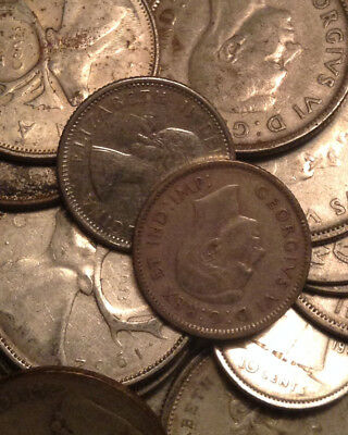 Big Lot Of Silver Canada 25/10 Cents +2 Nfld 5 Cents 25 Coins Total