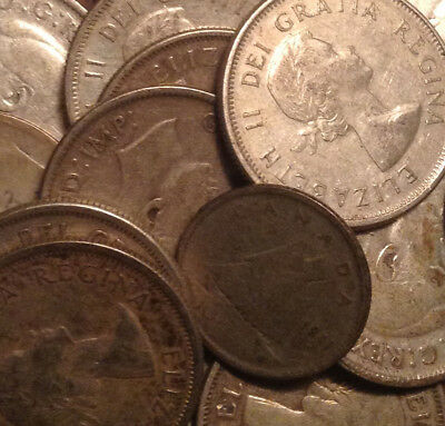 Big Lot Of Silver Canada 25 Cents And 10 Cents Quarters And Dimes 19 Coins Total