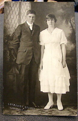 Antique~~Real Photo Post Card---Un-Posted----Young Couple--Lindsborg, Kansas
