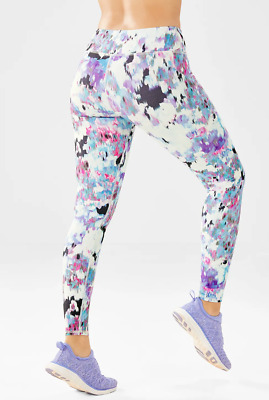1b481f003776a5 FABLETICS Salar Legging White Blue Pink Floral Tight Run Yoga Pants sz XS
