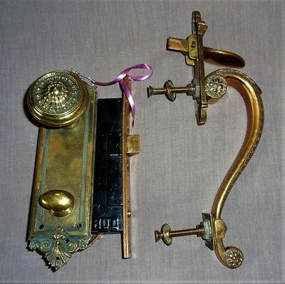 Victorian Cast Bronze Brass Entry Door Handle w/ Thumb Latch &  Knob & Lock Set