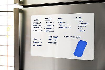 "17"" x 12"" Dry Erase Magnetic Refrigerator Board Flexible Message Organizer White"