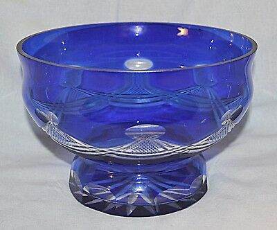 Vintage Russian Handmade Crystal Bowl Footed Cobalt Blue Cut to Clear, no chips