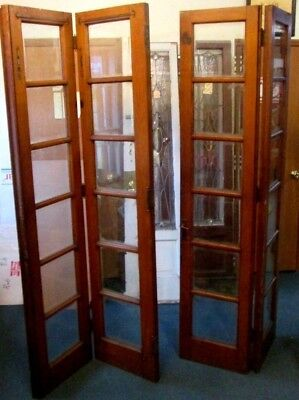 "ANTIQUE DOUBLE FOLDING SET SOLID OAK FRENCH DOORS W/ 24 BEVELED PANES 72"" x 84"""