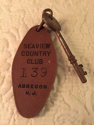 SEAVIEW COUNTRY CLUB - Vintage Cardboard Hotel / Motel Room Fob & Skeleton Key
