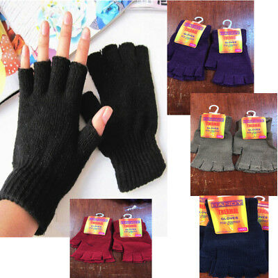 Multi Colour High Quality Ladies Women Half Finger Magic Thermal Gloves