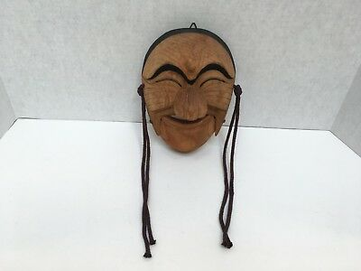 "Pacific Isle WOOD MASK Movable Jaw Hand Carved 8.5"" Tall Vintage"