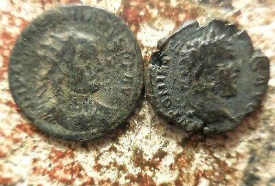 VF! Lot of 2 Interesting Ancient Roman Coins, Larger Antoninianus is 20 mm