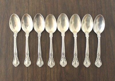 8 CHANTILLY by GORHAM STERLING SILVER SPOONS, NO MONOGRAM, FLATWARE, 250 grams