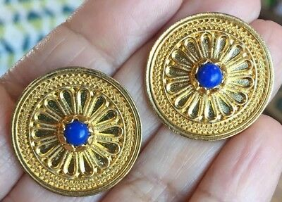 Stunning Vintage Gold Plated Lapis Byzantine Etruscan Flower Mma? Wag Earrings