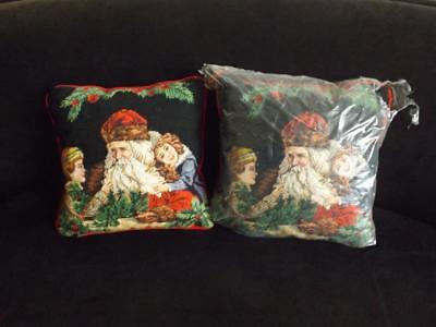 "Pair Imperial Elegance Christmas Needlepoint Pillows 14""x14"""