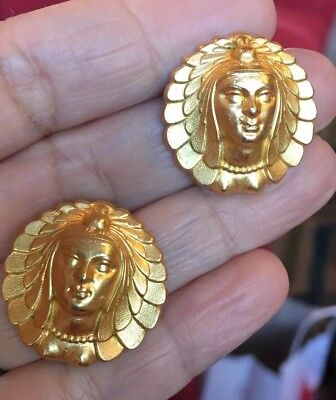 Amazing Vintage Gold Tone Egyptian Etruscan Byzantine Assyrian Head Earrings