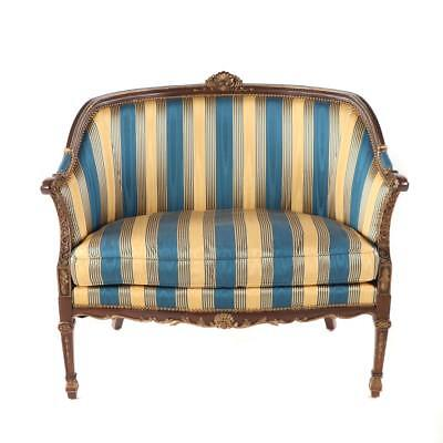 Stanford Furn. French Provincial Louis XVI Settee: Carved, Gilded, Duck Down +++