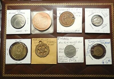 Lot of 8 JUDAICA Tokens & Medals Largest 39 mm, 1914 Six Pence Stamped in Hebrew