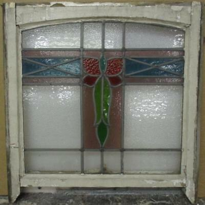 "EDWARDIAN ENGLISH LEADED STAINED GLASS SASH WINDOW Arch Top Cross 22"" x 20.75"""