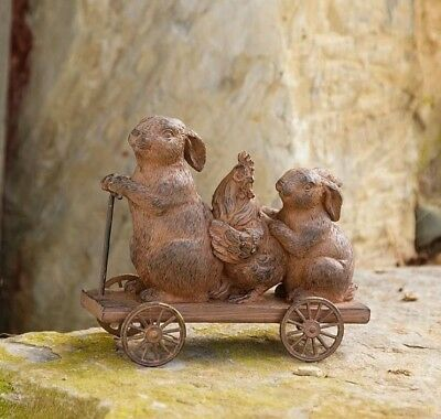 "Primitive Bunny Rabbits & Chicken in Cart Resin 4.5"" x 5"" Rustic Antique Look"