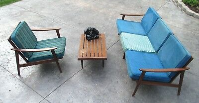 Mid Century Danish Modern Couch Lounge Chair Italy Eames Era Vtg Table Panther