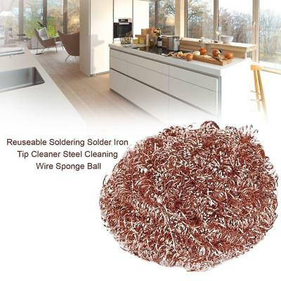 Reuseable Soldering Solder Iron Tip Cleaner Steel Cleaning Wire Sponge Ball UP