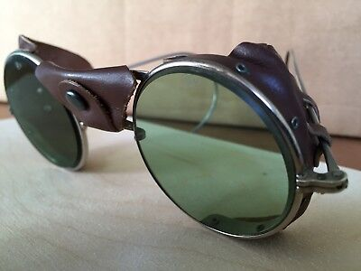 Vintage Safety Glasses - Round Lenses with Leather Nose/Bridge
